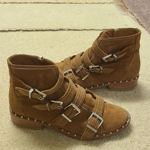 Schutz Darcey Studded Suede Camel Boots 6